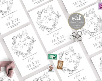 Botanical Bridal Shower Invitation, Minimal Bridal Shower Invitation Template, Printable Wedding Shower Invite