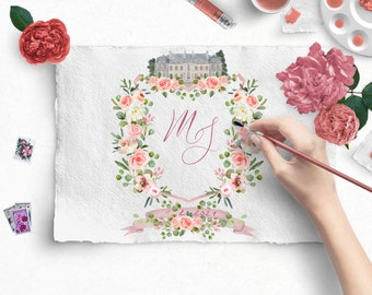 Watercolor wedding crest, Custom Crest, Wedding, Family Crest, Heraldry, Monogram, Hand Painted Wedding Stationery
