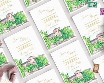 Venue Illustration Save the Date Template, Save the Date, Venue Illustration, Digital Venue Sketch, Destination Wedding, Instant Download