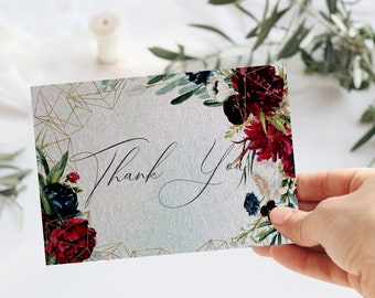 Burgundy and navy Floral  Wedding Thank you card, Marsala thank you card, Burgundy Wedding thank you, Printable Template