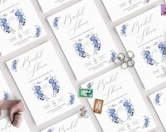 Bridal Shower Wedding Crest Invitation, Bridal Shower Invitation Template, Printable Wedding Shower Invite, Wedding Crest