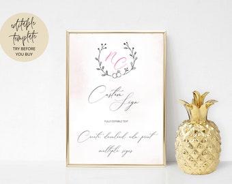 Printable Custom Wedding Sign, Editable Template, Minimalist Wedding Poster, Reception Decor, DIY Signs