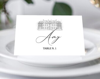 Venue sketch Wedding Place Card Template Set, Castle Wedding Place Card, Printable Template