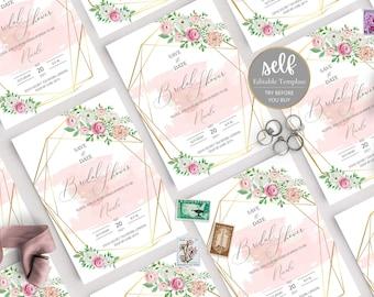 Geometric blush floral Bridal Shower Invitation, Floral Bridal Shower Invitation Template, Blush Wedding Shower Invite