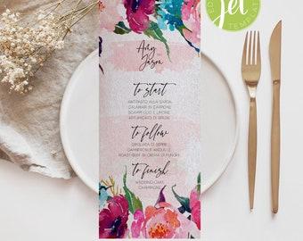 Boho Wedding Menu, Pink and blue watercolor roses Menu Template, Boho Watercolor Menu card template, Menu Printable