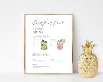Printable Bar Menu Template, Signature Cocktails Sign Download