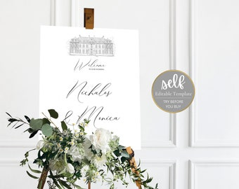 Castle sketch Wedding Welcome sign Template, Castle wedding sign, Castle Wedding signage, Instant Download