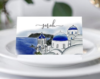 Santorini Wedding Place Card Template Set, Destination Wedding Place Card, Printable Template