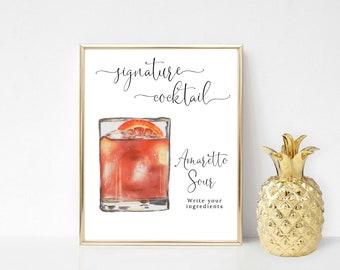 Printable Amaretto Sour Signature Cocktail Sign, Signature Drink Sign, Wedding Bar Sign