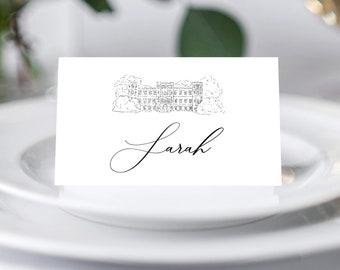 Castle sketch Wedding Place Card Template Set, Castle Wedding Place Card, Printable Template
