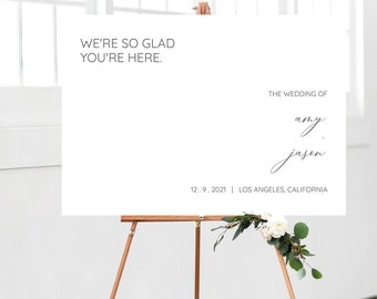 Welcome Wedding Sign Template, Minimalist Welcome Sign, Editable Wedding Poster, Wedding Sign