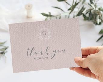 Wedding Thank you card Template, minimal Wedding card, minimal Wedding Template Suite, Instant Download