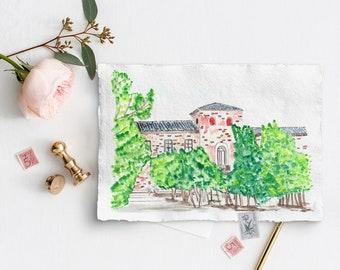 Custom wedding venue painting, wedding venue illustration, wedding venue sketch