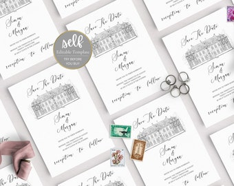 Wedding Save The Date Venue Template, Wedding Save the Date template