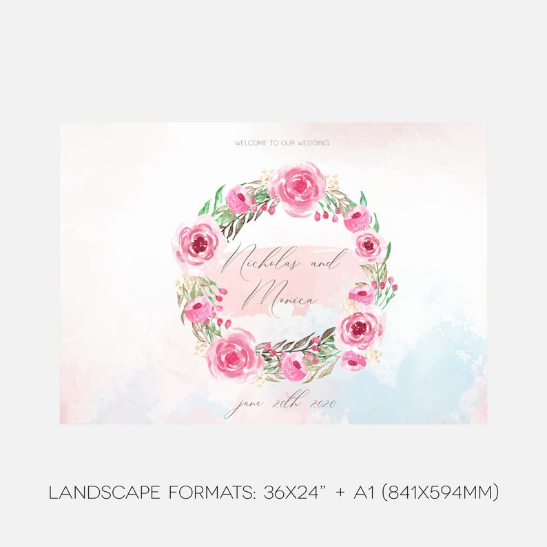 Wedding Sign Template Floral Wedding Welcome Sign Wedding Greenery Create Your Own Wedding Sign