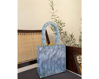 Month of May Blue Top Handle Lucite Handbag