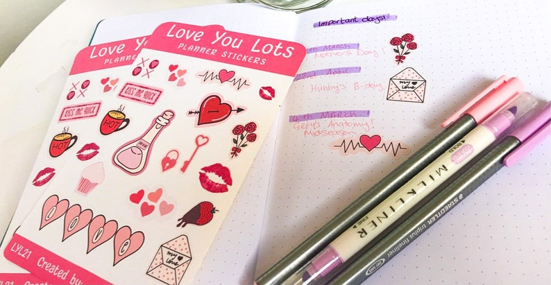 journal and diary stickers die cut planner love themed Love you lots