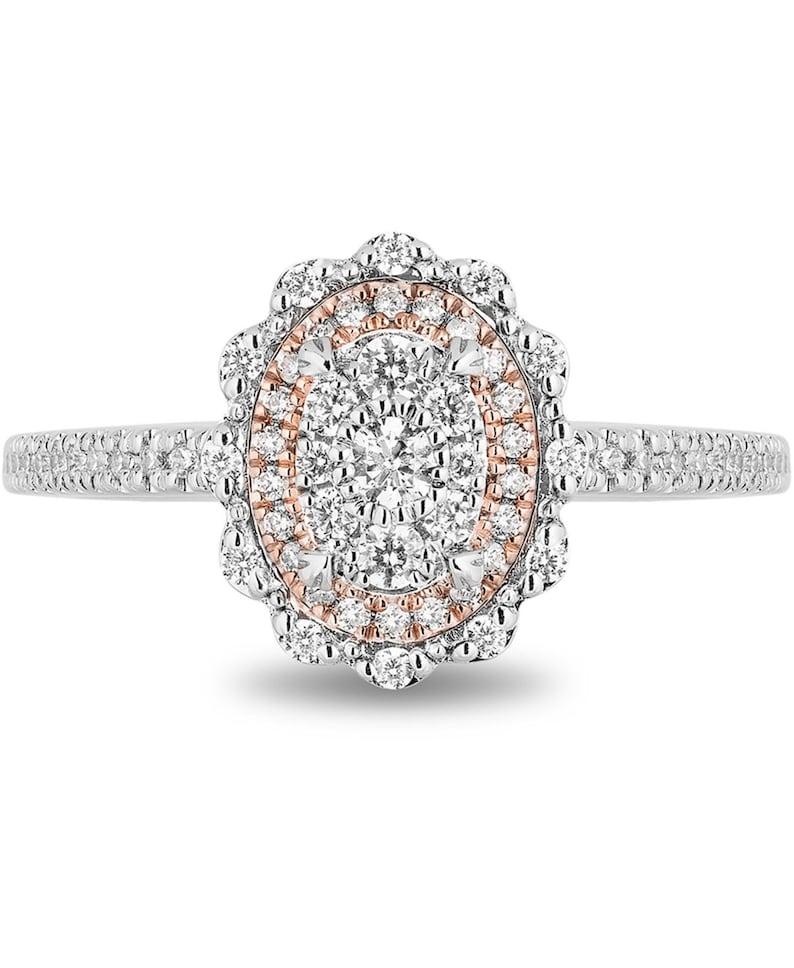 Enchanted Disney Diamond Ariel Engagement Ring 12 ct in 14k White /& Rose Gold t.w