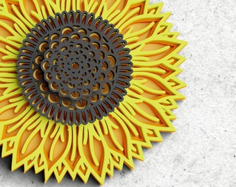Sunflower SVG 7 Layer 3D Mandala SVG PNG Flower Mandala Svg Floral Svg 3D Flower Svg *Instant Download*