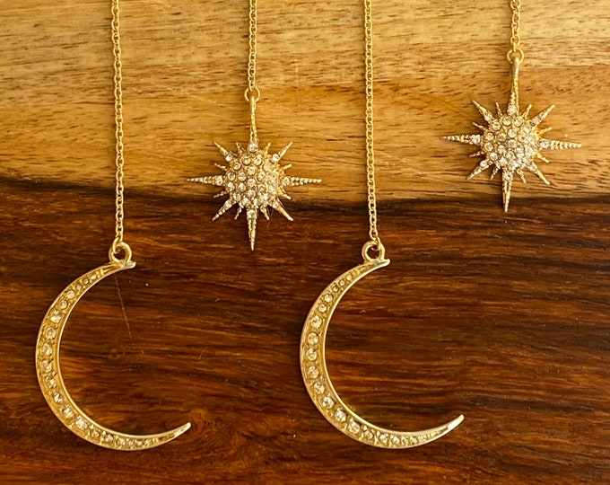 Sun and Moon Gold and Crystals Double Earrings