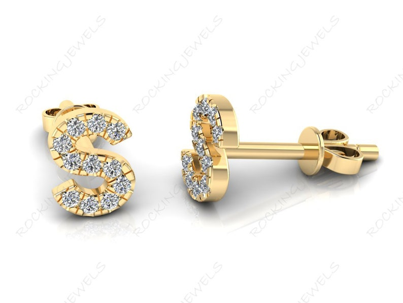 Personalized Jewelry Initial Alphabet Letter S 14K Solid Gold Natural Diamond Stud Earrings Letter Jewelry Modern Earrings