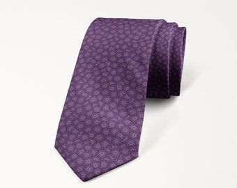 Purple Necktie, Purple Wedding Tie, Wisteria Tie, Floral Print Tie, Groomsmen Necktie, Prom Tie, Mens Purple Tie