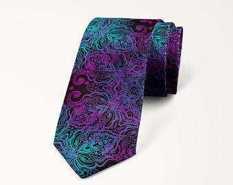 Purple Necktie, Purple Wedding Tie, Purple Mandala Abstract Tie, Groomsmen Necktie, Prom Tie, Mens Purple Tie