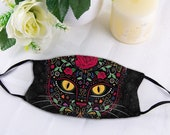Adjustable Mask, Day Of The Dead Kitty Mask, Floral Cat Mask, Kitten Sugar Skull Facial Decor, Washable & Reusable Mouth Cover with Filter
