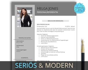 Professionelle Bewerbungsvorlage deutsch | Word & Pages | Vorlage Lebenslauf Anschreiben Deckblatt | Bewerbung | Bewerbungsmappe grau Helga
