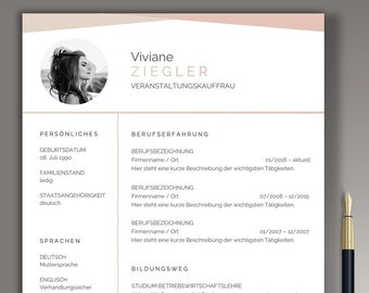 Modern Application Template CV Template german Word & Pages