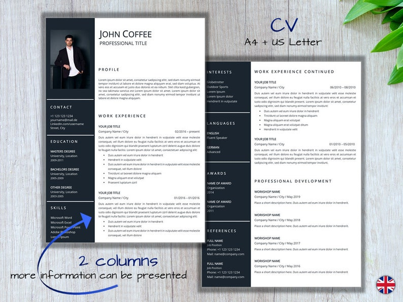 A4 +US Letter Pages Instant Download Word english+ german Professional Cover Letter CV References Minimal Resume Template blue