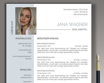 Professional application template german CV template Word & Pages