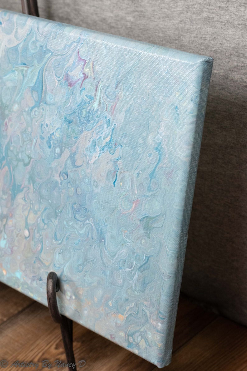 10x20 Acrylic Pour Painting Fluid Acrylic Painting on Canvas Acrylic Pour Art Abstract Painting PUFFS OF BLUE