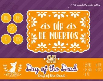 Papel Picado día de muertos svg, Mexican Bunting Banner, Papel Picado Mexico svg, Día de muertos svg, Day of the dead svg, Mexican paper cut