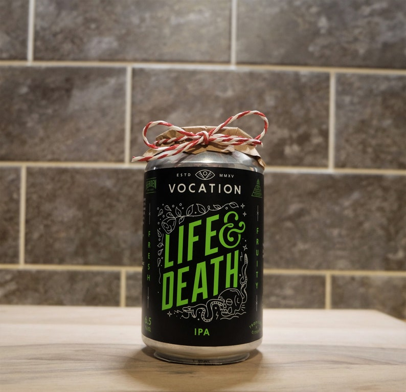 Pre-made Dark Honey /& Tobacco hand poured vegan friendly Vocation /'Life And Death/' craft beer candle