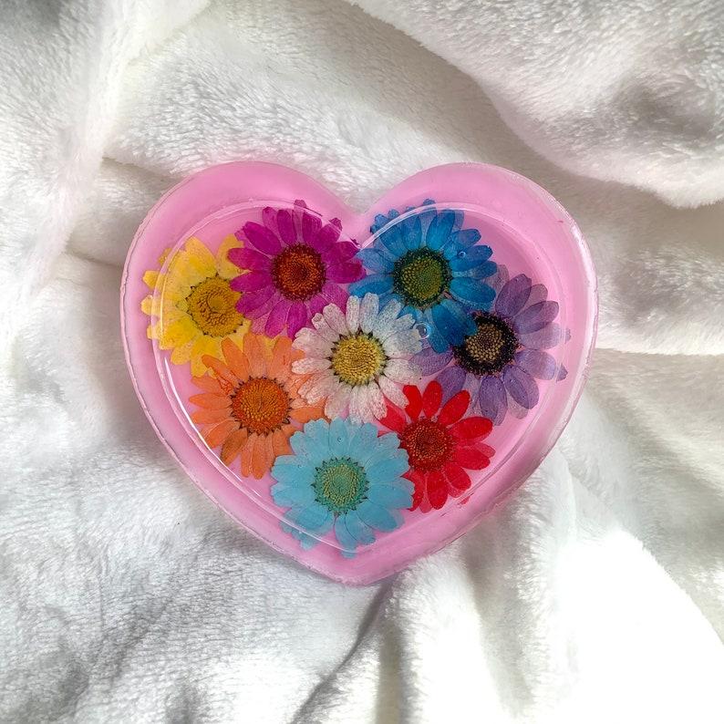 Trinket Tray Heart Trinket Dish Flower Tray Resin Trinket Tray
