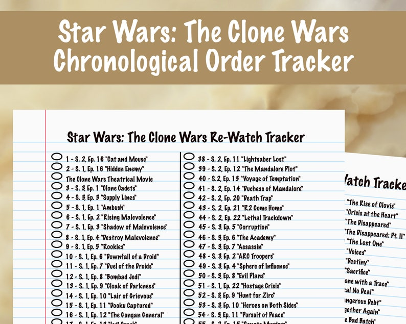 Star Wars The Clone Wars Chronological Tracker image 0