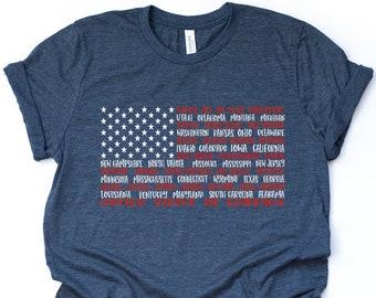 Custom Toddler T-Shirt America Map Yeah Patriotic 4Th of July Cotton