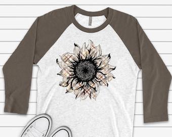 Thanksgiving Shirts Womens Thankful Pumpkin and Sunflower 3//4 Sleeve Raglan Baseball Graphic Tee Tops