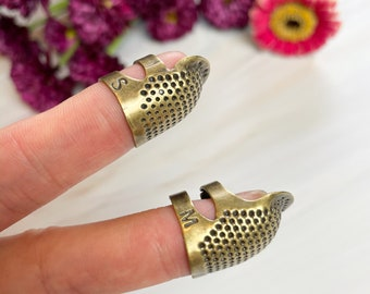 Sewing Thimble Finger Protector   Embroidery Needlework Metal Brass Sewing Thimble Sewing Tools Accessories Retro Handwork Sewing Thimble