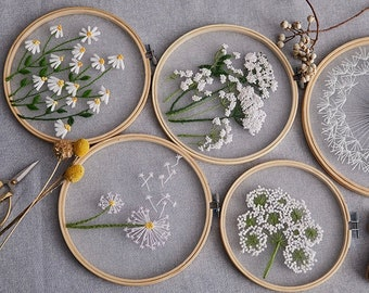 Plants Transparent Embroidery Kit for Beginner,Flower diy Kit, Beginner Hand Embroidery Full Kit ,Diy Start Up Embroidery Set with Pattern