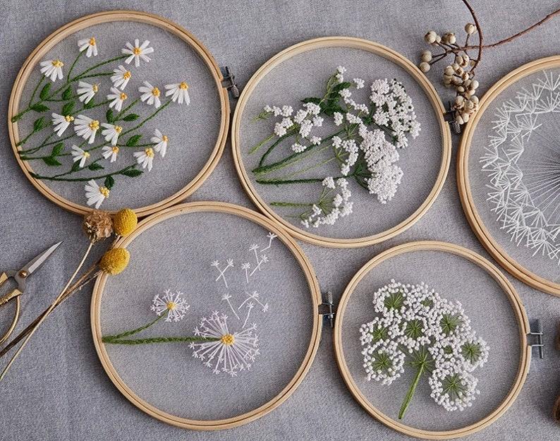2 Pack Plants Transparent Embroidery Kit for BeginnerFlower image 0