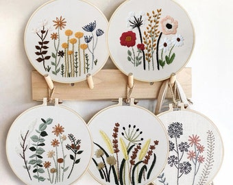 Embroidery Kit For Beginner   Modern Crewel Embroidery Kit with Pattern   Floral  Embroidery Full Kit with Needlepoint Hoop  DIY Craft Kit