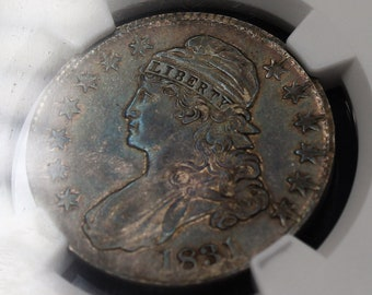 1831 Silver Half Dollar Lady Liberty Capped Bust Graded AU50 Rare Antique Old Coin, Natural Iridescence
