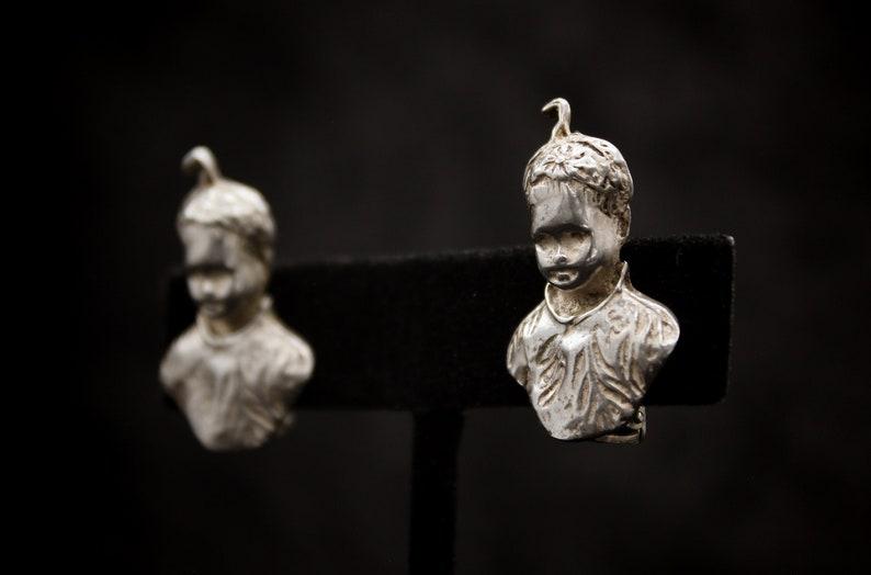 Fine Antique Art Nouveau 925 Sterling Silver Little Boy Etched Clip-on Earrings Authentic Jewelry of the Art Nouveau Era