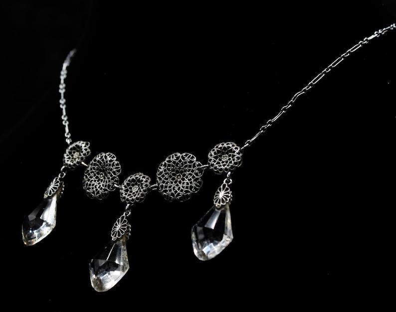 Vintage Art Nouveau Regency Silvery Filigree Snowflake Flower Crystal Princess Necklace