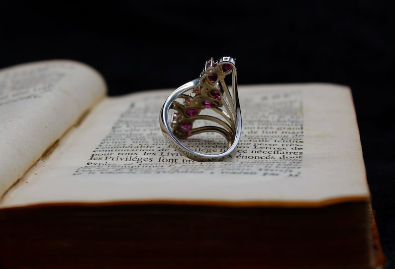 Vintage /& Art Nouveau Inspired* 925 Sterling Silver Orchid Pink Marquise Ring Size 10 US *Perfect
