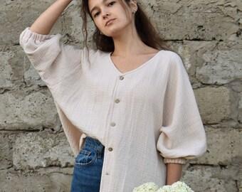 Linen shirt women oversized top summer top  linen blouse