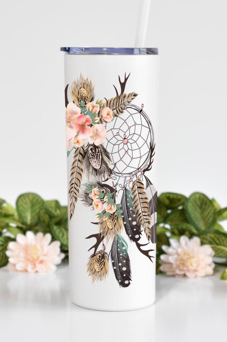 Bridesmaid Tumbler,Custom Tumbler Flower Feather,Skinny Tumbler,Personalized,Bachelorette Cups,Custom Drinkware Leaf Custom Tumbler