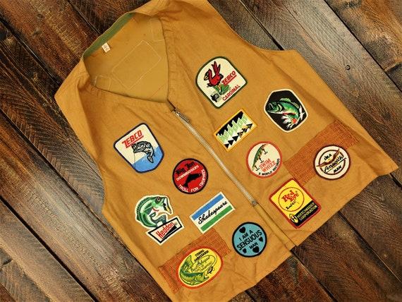 Vintage Fishing Patchwork Vest Size Large